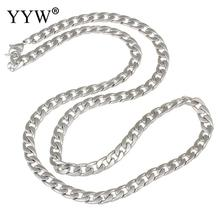 YYW Male Women Punk Rock Original Color Stainless Steel Chain Necklace 4 size Twist Oval Chain 59cm Long Sweater Necklaces