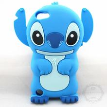 Lovely 3D Cartoon Soft Rubber Skin Silicon Silicone Cute Stitch Case Cover for Apple iPod Touch 4 /4G With Movable Ear(China)