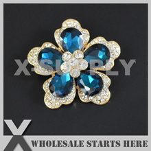 51mm Metal Blue Zircon Rhinestone Gold Brooch with Regular Pin Backing,Used for Party Evening Wedding Dress,Decorations
