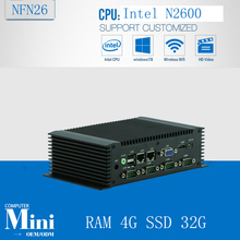 Fanless Mini PC 12V,Mini linux Embeddex pc Atom N2600, Fanless Carputer RAM 4G SSD 32G(China)