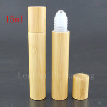 24pc/lot 15ml high quality  roll on bamboo bottles essential oil perfume deodorant packaging bottle portable massage ball