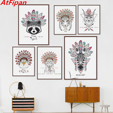 AtFipan Indian Animals Head Hippie Fashion Deer Horse Zebra A4 Art Print Poster Wall Pictures Painting No Framed Home Decor