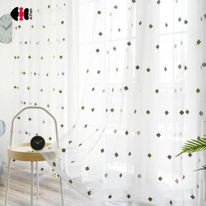Green Square Tulle Curtain for Kids Room Towel Embroidered Sheer Fabric Window  Balcony Net M066C