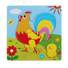 2017 Cute Cock Wooden Puzzle Educational Developmental Baby Kids Training Toy baby kids gift(China)