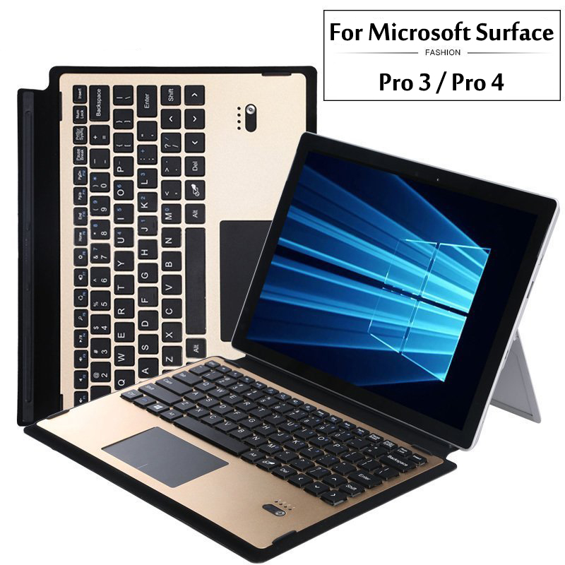 High Quality Bluetooth Keyboard Portfolio Stand Cover Case - Aluminium Bluetooth Keyboard For Microsof Surface Pro 3 / Pro 4<br>