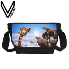 VEEVANV Brand 2017 New Fashion Giraffe 3D Printing Childrens Bag Women Messenger Bags Men Packpage School Student Crossbody Bags
