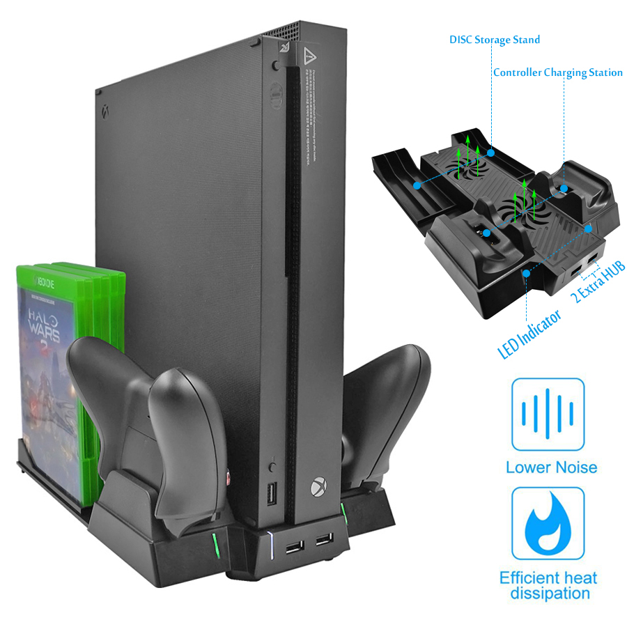 Vertical-Cooling-Stand-Cooler-Fan-for-Xbox-One-X-Controller-Charger-with-2-HUB-Ports-Discs
