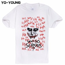 Harley Quinn And Joker T-Shirts Men Why so Serious Design Digital Printing 100% Combed Cotton Tee Shirt Homme Customized(China)