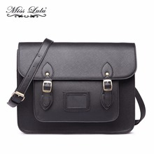 Buy 1 Get 1 at 50% Off Miss Lulu Women Messenger Bags PU Leather School Bags Large Cross Body Bags for Girls Blac Satchel LT1665