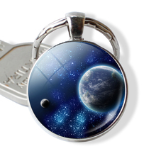 Solar System Planet Universe Pendant Silver Metal Keychain Keyring Key Holder Nebula Jewelry Creative Gift(China)