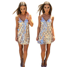 Summer Women Sexy Gold Silver 2 Colors Sequins Mini A-Line Dress Backless Sparkling Party Night Club Dress Vestidos De Festa