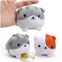 10cm Game Neko Atsume Kutusita Nyanko Mini Cat Plush Pendant Dolls Soft Plush Keychain Keyring Stuffed Pendant Doll Toy