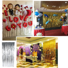 Foil Curtains Birthday Wedding Party Reusable Foil Tinsel Fringe Curtain Doorway Room Hanging Decoration