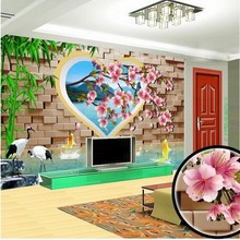 beibehang Customize size High Quickly HD mural 3d wallpaper brick Peach seiling europe papel de parede 3d wall paper(China)