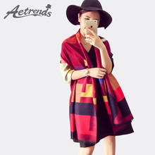 [AETRENDS] Luxury Brand Scarf Women Plaid Cashmere Scarves Cape Pashmina Z-1661()