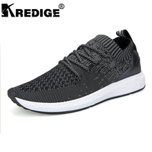 KREDIGE New Arrival Men's Breathable Mesh Casual Shoes Anti-Odor Slip-On Shoes For Men Soft Soles Elastic Knitted Shoes 39-44