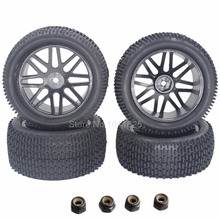 4Pcs/Lot  Rubber RC Tires & Wheel Rims Hex Hub 12mm For 1/10 Scale Electric Nitro Off Road Buggy Front / Rear Tyres 2wd 4wd
