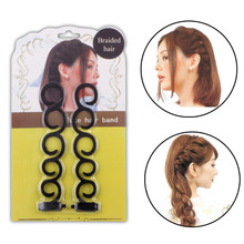 2pcs/set Women Lady French Hair Braiding Tool Braider Roller Hook With Magic Hair Twist Styling Bun Maker Hair Band Accessories
