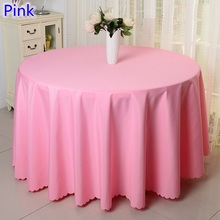 Pink colour round table cloth party,polyester table cover,for wedding,hotel and restaurant round tables decoration,200GSM thick(China)