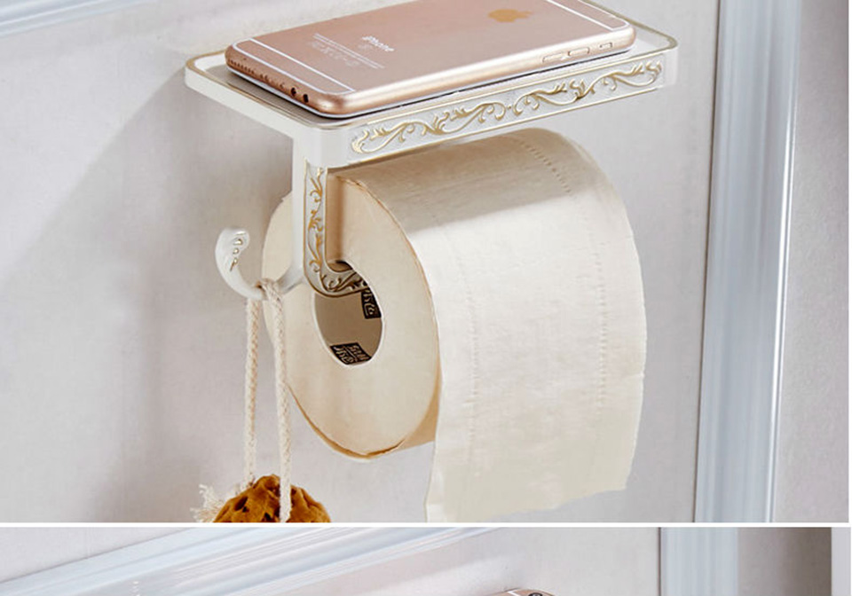 OKAROS 2017 Toilet Paper Holder With Phone Shelf  Towel Roll Rack Phone Shelf  With Hooks Wall Mounted  Zinc Alloy Toilet Paper