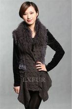 Real Womens Knitted Rabbit Fur Vest Fashion Woolen Gilet With Tibet Sheep Fur Collar Waistcoat Fashion Outwear AU00259(China)