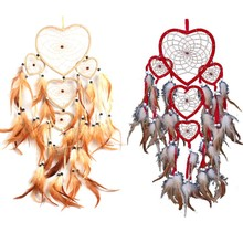 Heart Dream Catcher Brown Red Wall Hanging With Feather Bead Ornament Decoration()