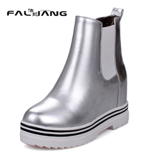 Fashion Bright skin Elastic band Height Increasing High Heels Round Toe Solid Ankle Bread bottom Snow Boots Winter Boots