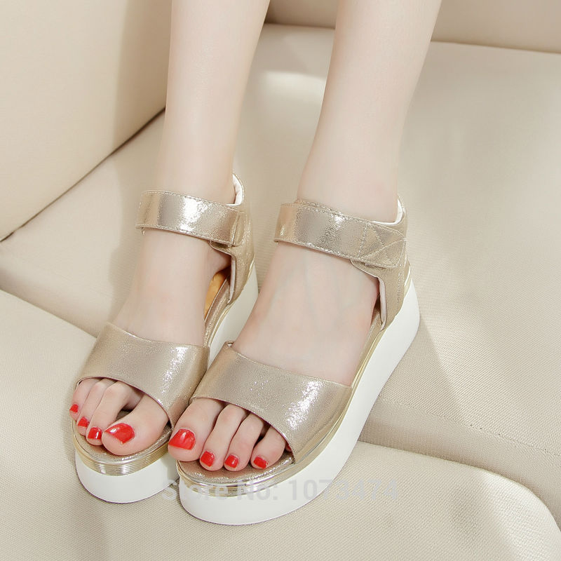 New Fashion Korean Style Casual Platform Sliver Gold Summer Sandals Cheap Sale Shining Shoes For Women All-Match Discount Sale<br><br>Aliexpress