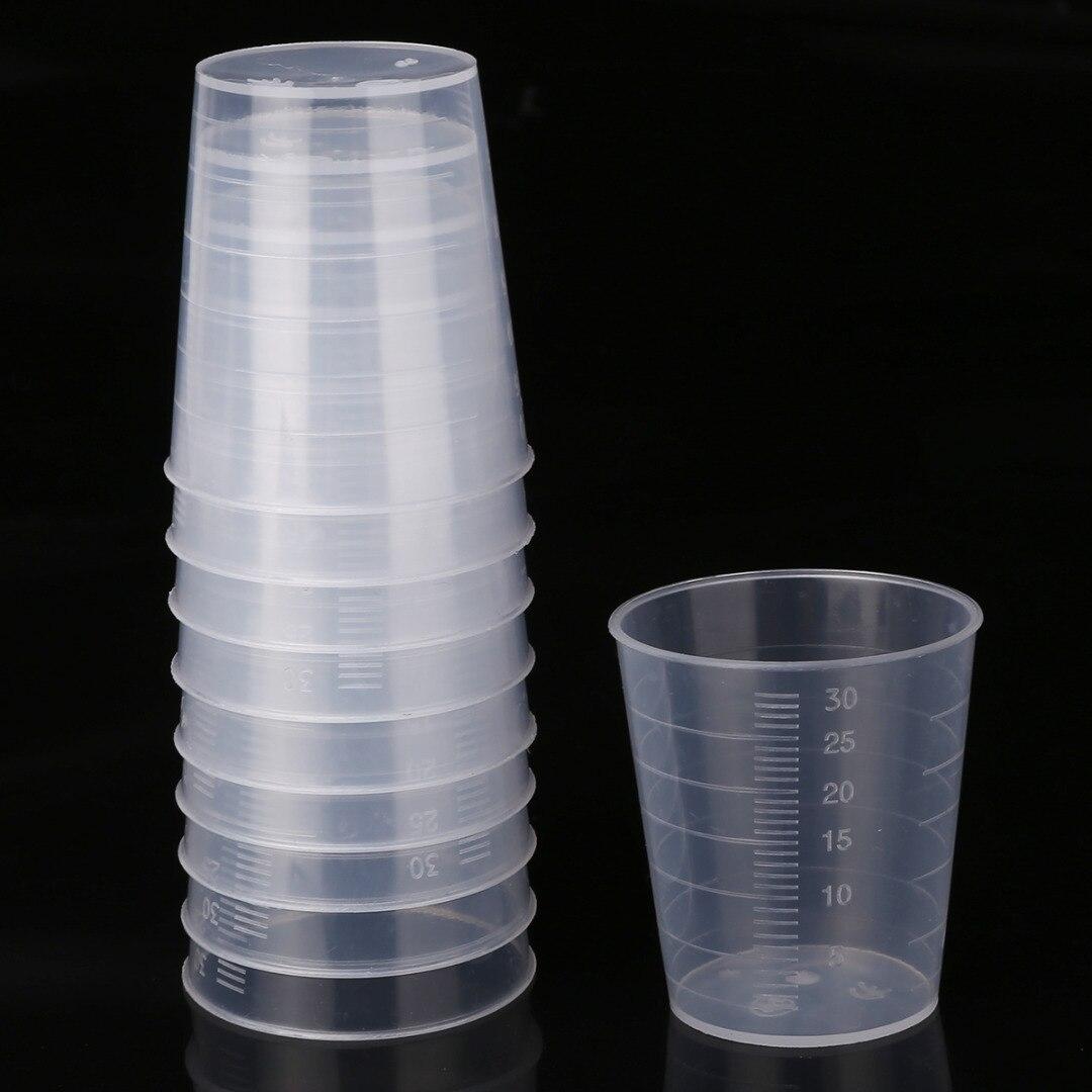 10pcs/50pcs/100pcs 30ml Transparent Plastic Measuring Cups Laboratory Kitchen Disposable Liquid Measure Pot Container