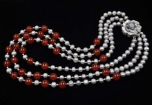"17-20"" 3ROWS gray freshwater pearl & 10mm round carnelian necklace set"