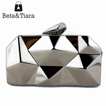 Name Brand Purses for Sale Small Iron Clutch Purse with Metal Chain Black Silver Gold Evening Clutches for Women Cheap Price(China)