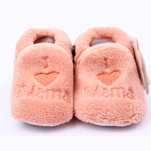 Winter Newborn Baby Shoes 6 colors embroidered I Love Mama Girls First Walkers Slipper Winter Coral Fleecel Infant Toddler Shoes(China)