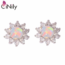 Buy CiNily Created White Fire Opal Cubic Zirconia Silver Plated Earrings Wholesale Retail Women Jewelry Stud Earrings 12mm OH3448 for $4.43 in AliExpress store