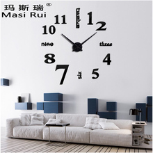 2017 new arrival  3d real big wall clock Quartz fashion wall watch stickers rushed mirror diy clocks living room free shipping