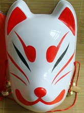 Hand-Painted Fox Mask Japanese Anime Full Face Halloween Animal PVC Mask Masquerade Cosplay Cartoon Mask Goblin(China)