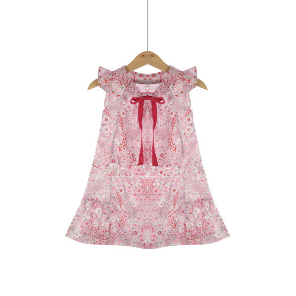 Girls dress Red bowknot cotton childrens wear  European and American style <br>