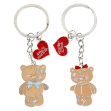 "GIft box packaging Heart pendant keychain fashion Keychain for the couple ""Together forever. Bears"" valentine day gift for women"