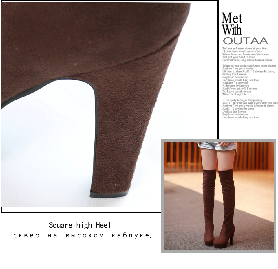 New Women's Boots, Sexy Fashion Over the Knee Boots, Sexy Thin Square Heel, Boot Platform Woman Shoes 22