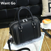Want Go Fashion Women Solid Color Boston Style Hand Bag High Quality Pu Leather Lady Rivet Shoulder Bag New Female Crossbody Bag