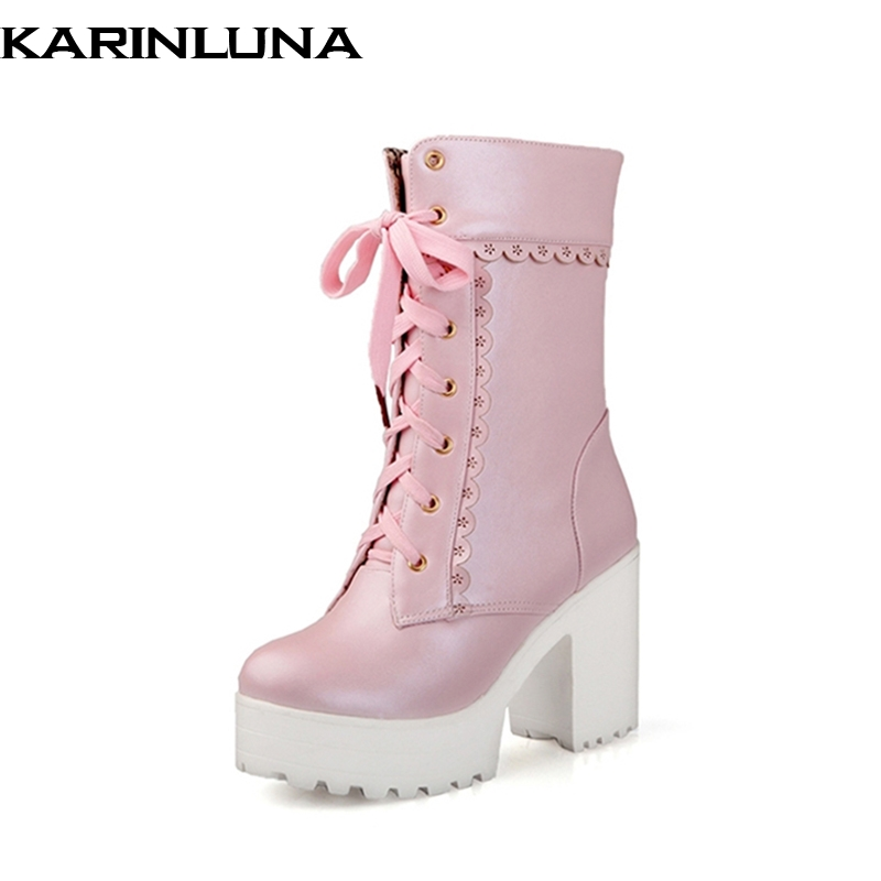 Karinluna 2018 Spring And Autumn Lace-Up Sweet Platform Ankle Boots Floral Border High Square Heel Women Shoes Big Size 33-42<br>