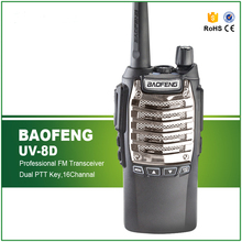 Handheld Portable BF-UV8D Dual PPT Radio 8W 128CH 1800 mAh UHF 400-480MHz DTMF VOX 1750Hz Tone Flashlight FM VOX Walkie Talkie