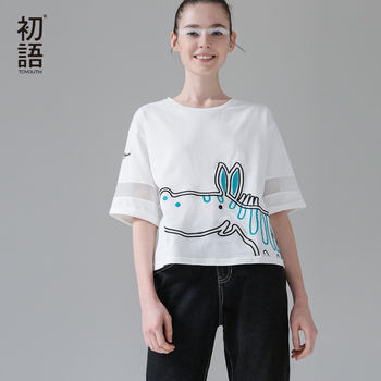 Toyouth 2017 camisetas mujeres camiseta de dibujos animados de animales mesh patchwork media manga floja ocasional del o-cuello camisetas tops