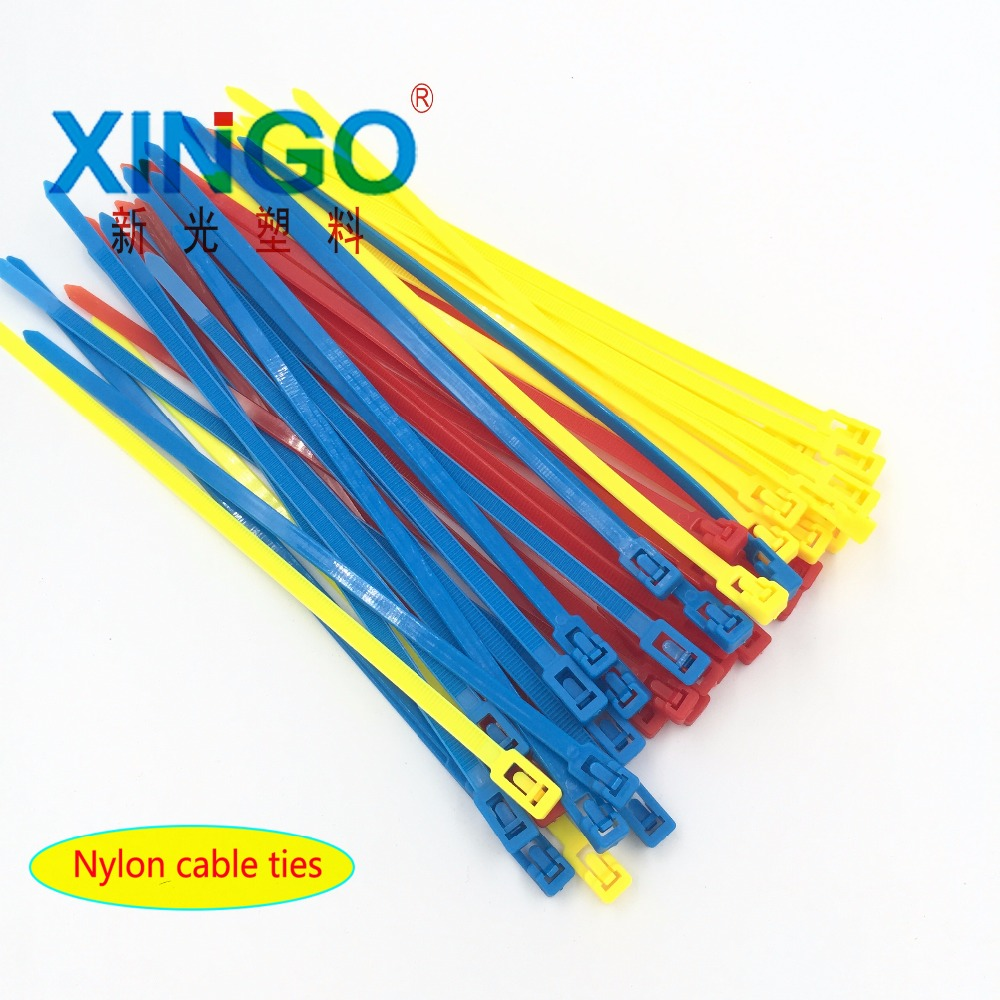 100pcs 5x200 5*200 width 4.8mm White BLack color may loose nylon cable ties slipknot tie Releasing number reusable packaging