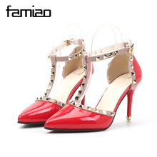 Luxury Rivets Pumps Brand 2017 Designer Metal Rivets Leather T-Strap Pumps Women Superstar High Heels Ladies Wedding Shoes
