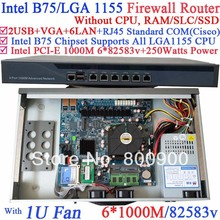 B75 6 ports Gigabit lan 1U network server barebone system without CPU PCI-E 1000M 6*82583v support ROS Mikrotik PFSense Wayos(China)