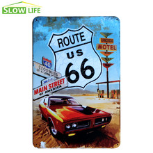 US Route 66 Race Car Metal Tin Sign Wall Decor Tin Sign Vintage Home Decor Metal Plaque Retro Metal Plate Fashion Metal Poster(China)