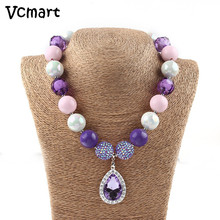 Vcmart 2017 Kids Necklace Sofia The First Chunky Bubblegum Necklace Princess Sophia Purple Teardrop Amule Beaded Necklace(China)