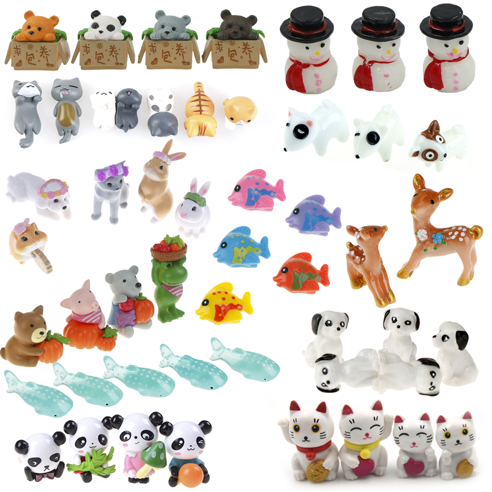 Mini Panda Cat Dog Fish Fairy Garden Miniatures Decorations Resin Crafts Bonsai Terrarium Figurine Mini Garden Accessories