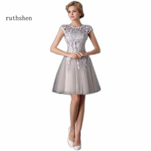 ruthshen Robe De Soiree Mini Short Champagne Gray Short Cocktail Dresses 2017 Cap Sleeve Vestidos Coctel Knee Length Party Dress(China)