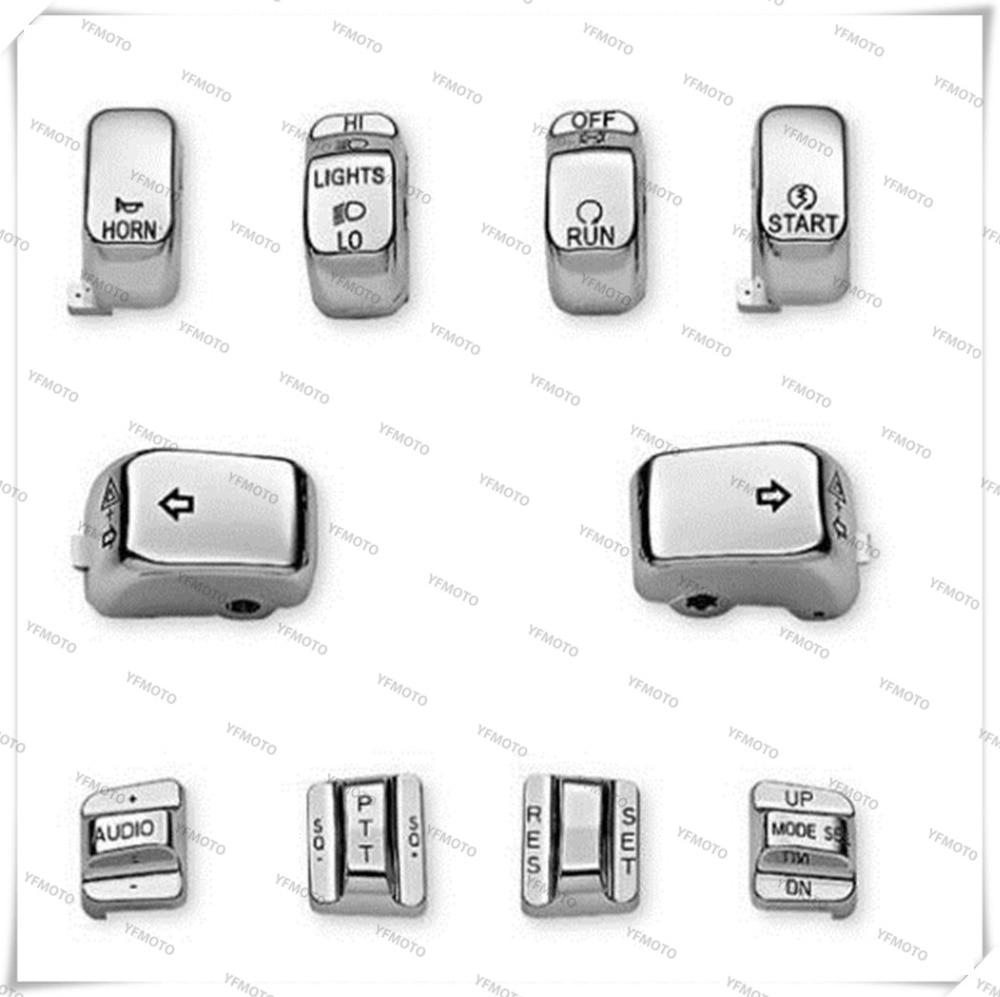 Motorcycle Silver Control Switch Cap Rocker Switch Kit Cover For Harley FLHTCU/FLHTK/FLTR/FLTRU 1996-2013 FLHTCUTG 2009-2013<br><br>Aliexpress